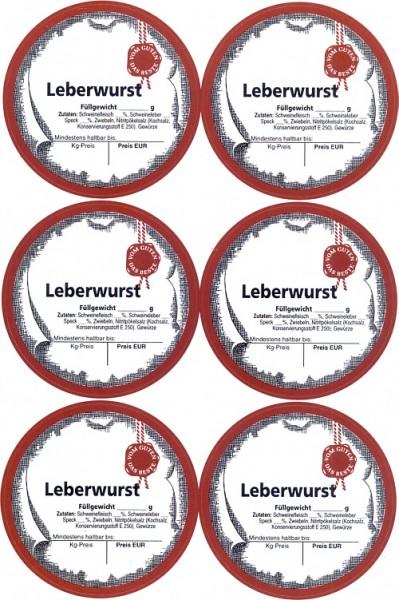 "6 Etiketten ""Leberwurst"""