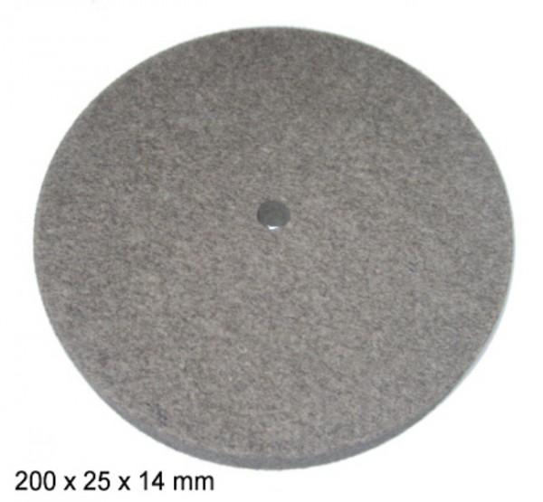 Filz- und Polierscheibe 200 x 25 x 14 mm - gerade
