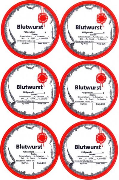 """6 Etiketten """"Blutwurst"""""""