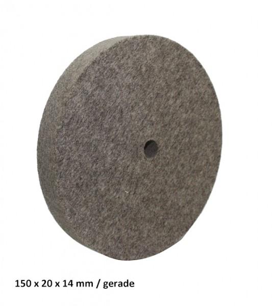 Filz- und Polierscheibe 150 x 20 x 14 mm - gerade