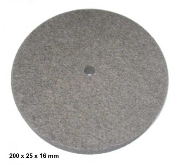 Filz- und Polierscheibe 200 x 25 x 16 mm - gerade