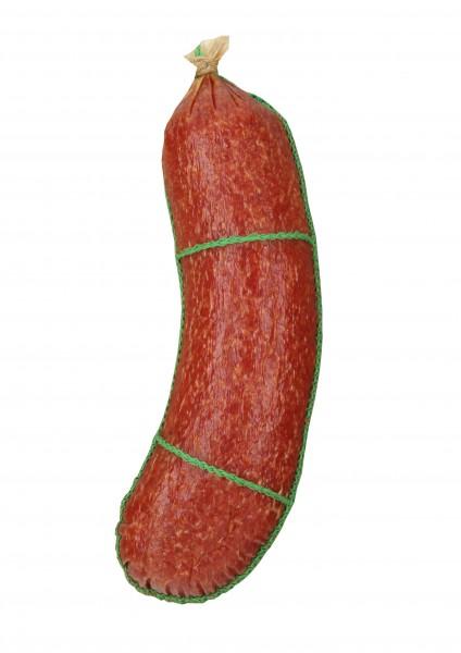 """Faserdarm """"Kappe"""" farblos mit Schnürnaht grün für Rohwurst"""