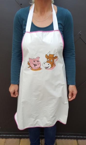 """Acrylatschürze mit Motiv """"lachendes Schweinchen und glückliche Kuh"""""""