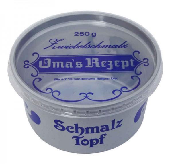 """10 Rundbecher mit Deckel """"Zwiebelschmalz"""" 250 g"""