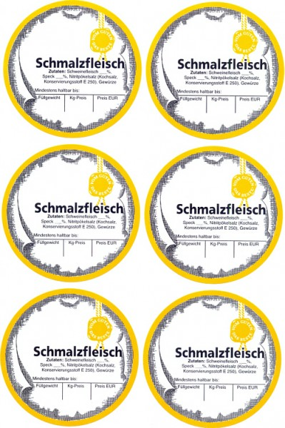 """6 Etiketten """"Schmalzfleisch"""""""