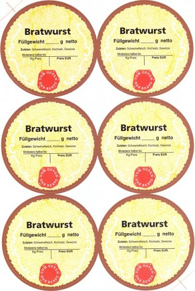 "6 Etiketten ""Bratwurst"""