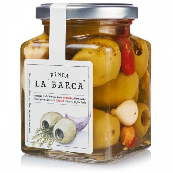 Entkernte grüne Oliven mit geräuchertem Olivenöl und feinen Kräutern 130 g