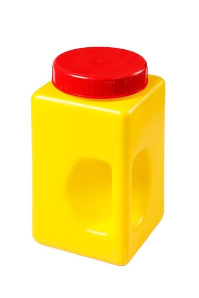 Gewürzdose gelb mit rotem Schraubdeckel