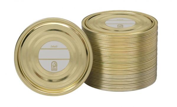 100 Falzdeckel für Blechdosen mit Schreibfläche ø99 mm