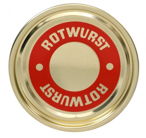 """Falzdeckel mit Druck """"Rotwurst"""" ø 99 mm"""