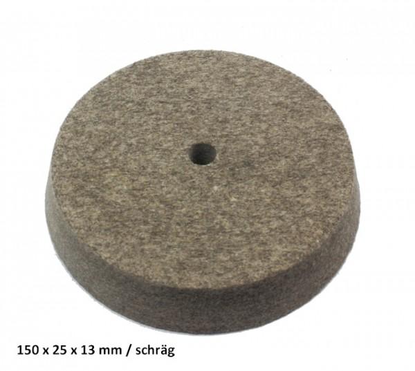 Filz- und Polierscheibe 150 x 25 x 13 mm - schräg