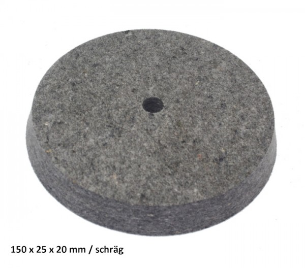 Filz- und Polierscheibe 150 x 25 x 20 mm - schräg